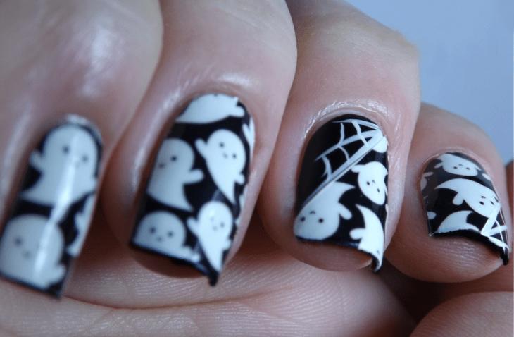 Diseño de uñas para halloween de fantasmas