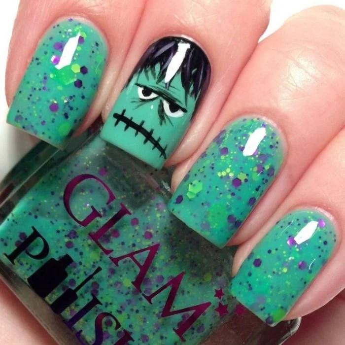 Diseño de uñas para halloween color verdes