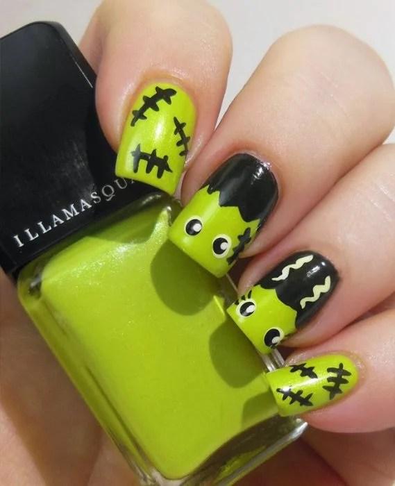 Diseño de uñas para halloween estilo Frankenstein