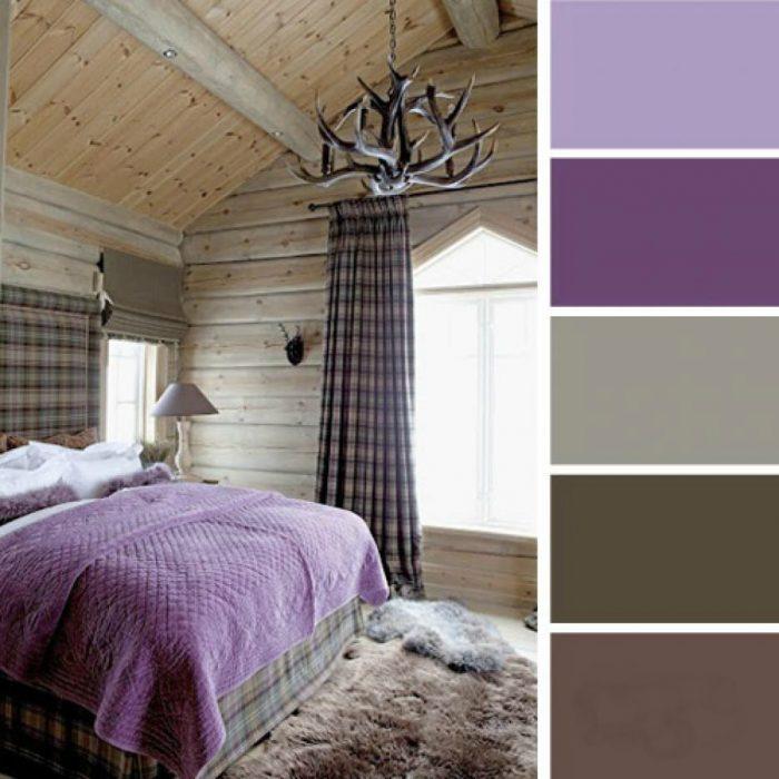 paleta de colores dormitorio cafe lavanda morado