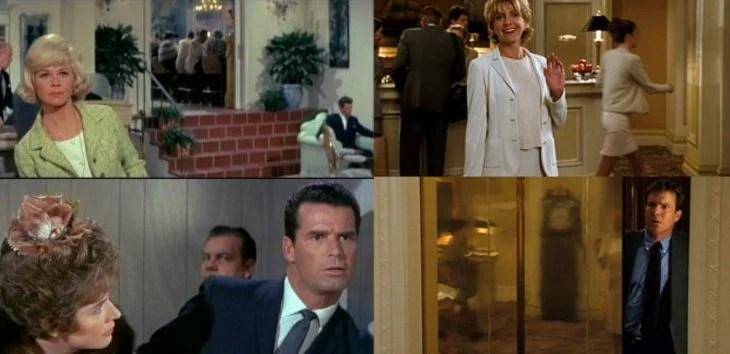 hombre en elevador ve a mujer rubia