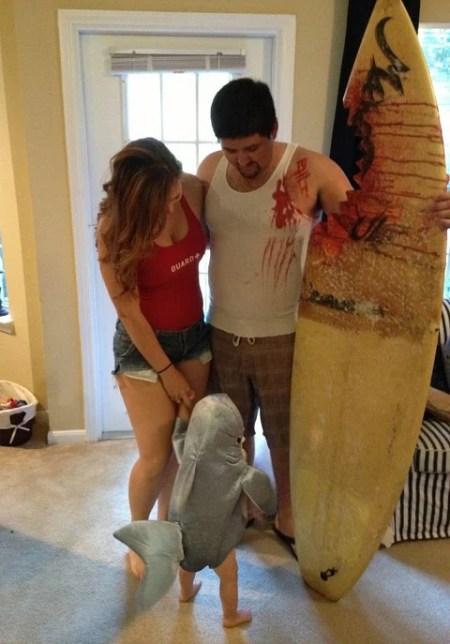 Disfraz surfero y tiburon