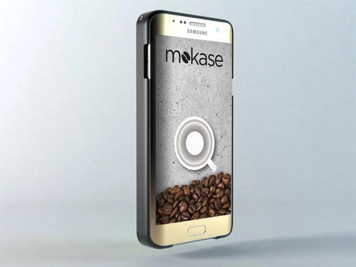 Funda de celular que prepara café