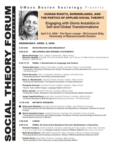 Proceedings of the Third Social Theory Forum, April 5-6, 2006, UMass Boston—Re-Membering Anzaldúa: Human Rights, Borderlands, and the Poetics of Applied Social Theory: Engaging with Gloria Anzaldúa in Self and Global Transformations