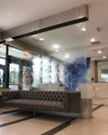 Glass waterfall wall New York