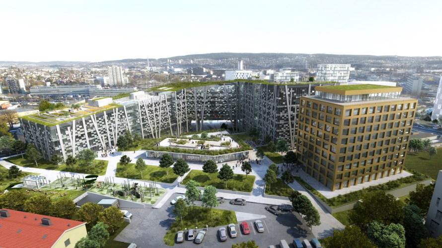 Oslo Pensjonsforsikring AS skal bygge 75 000 kvm med hotell, handel og kontor i Lørenfaret 1-3. Prosjektet er tegnet av arkitektene i DARK. Ut fra tegningene skal det bli restauranter […]