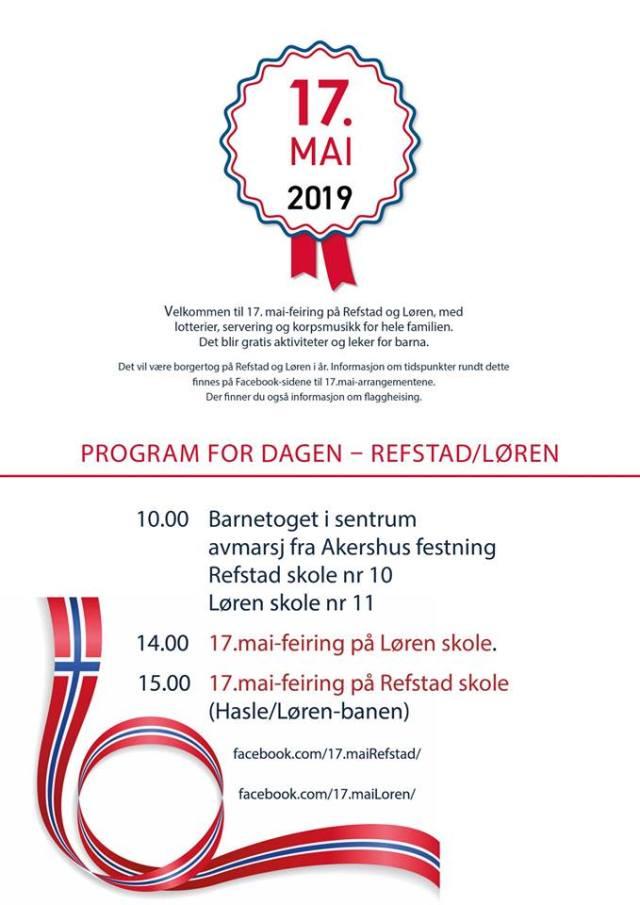 17. mai program Løren og Refstad skole