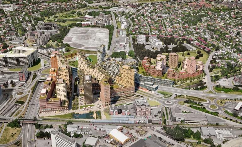 Illustrasjoner fra nytt planforslag for Økern Sentrum