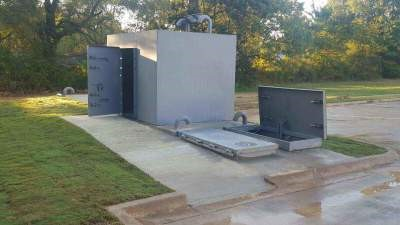 This custom combination of a safe room and bunker offers both options for above and underground shelter.