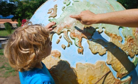 A child learning about where tornado winds originate from.