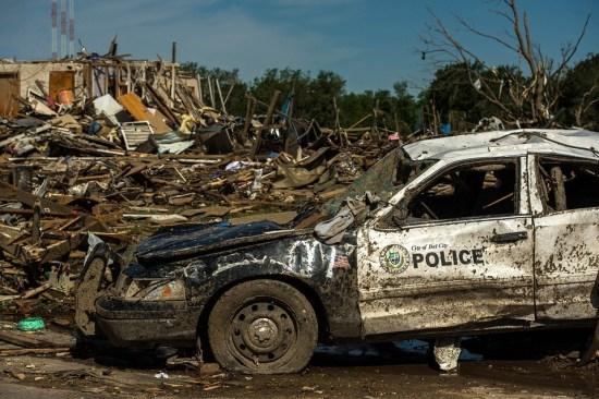 A damaged locality after a tornado hit Oklahoma City.
