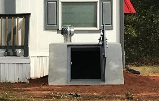 An easy access to an underground concrete shelter in Oklahoma