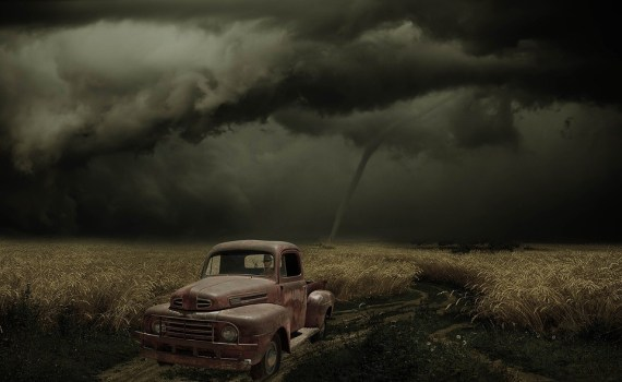 A car about to be hit by a tornado in Oklahoma City.