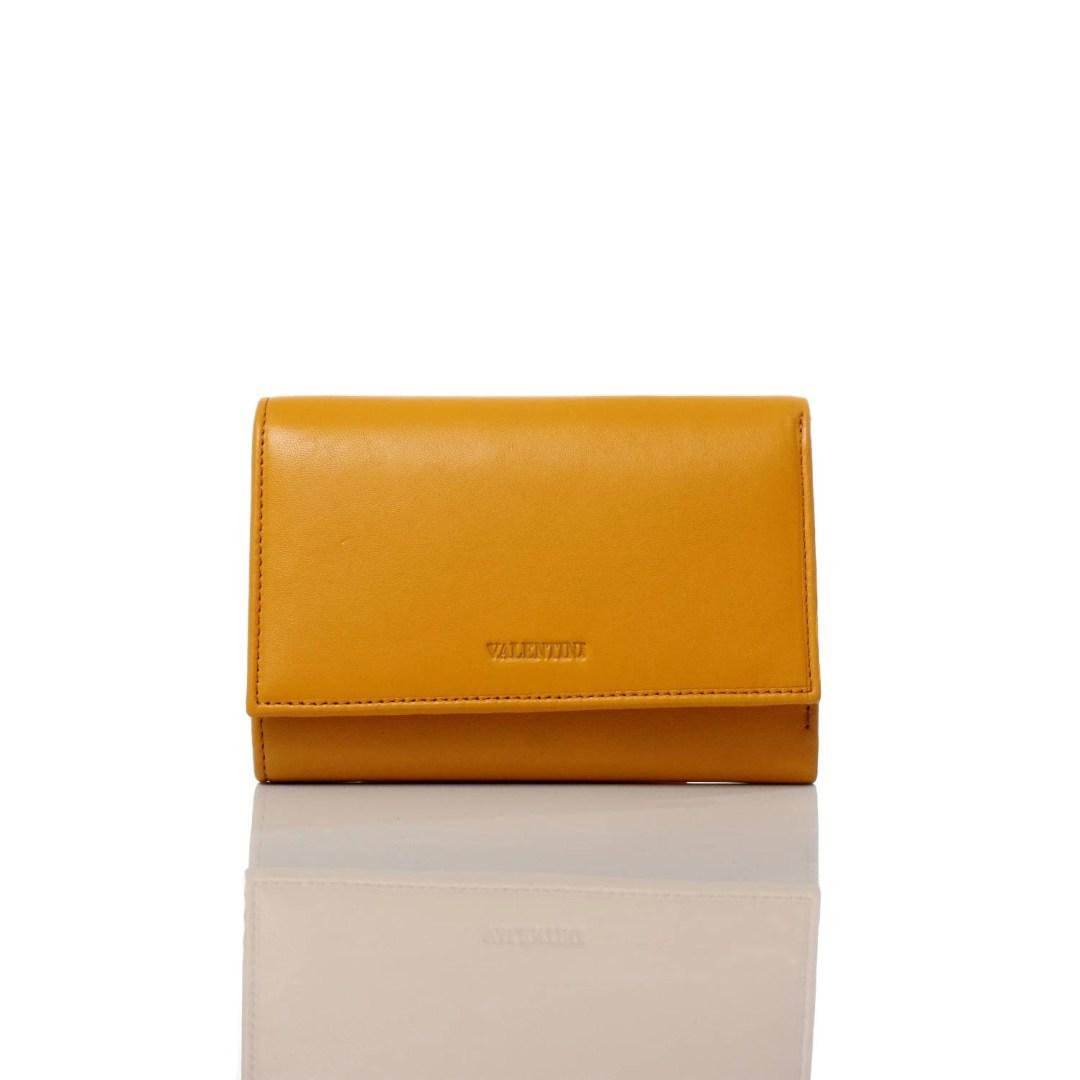 Art. 7703 Portafogli giallo donna vera pelle