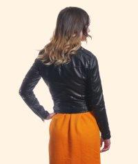 Chiodo in pelle con cinturino in vita regolabile