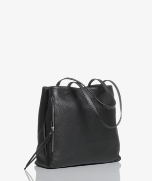 Sac plat bag in pelle nera