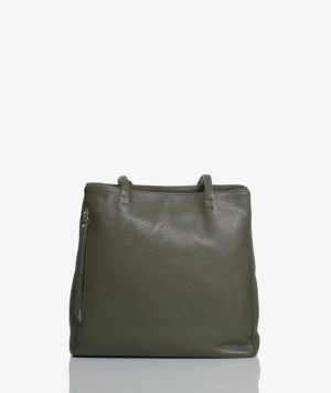 Sac plat bag in pelle verde