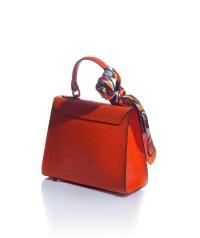 borsa bauletto arancione in vera pelle