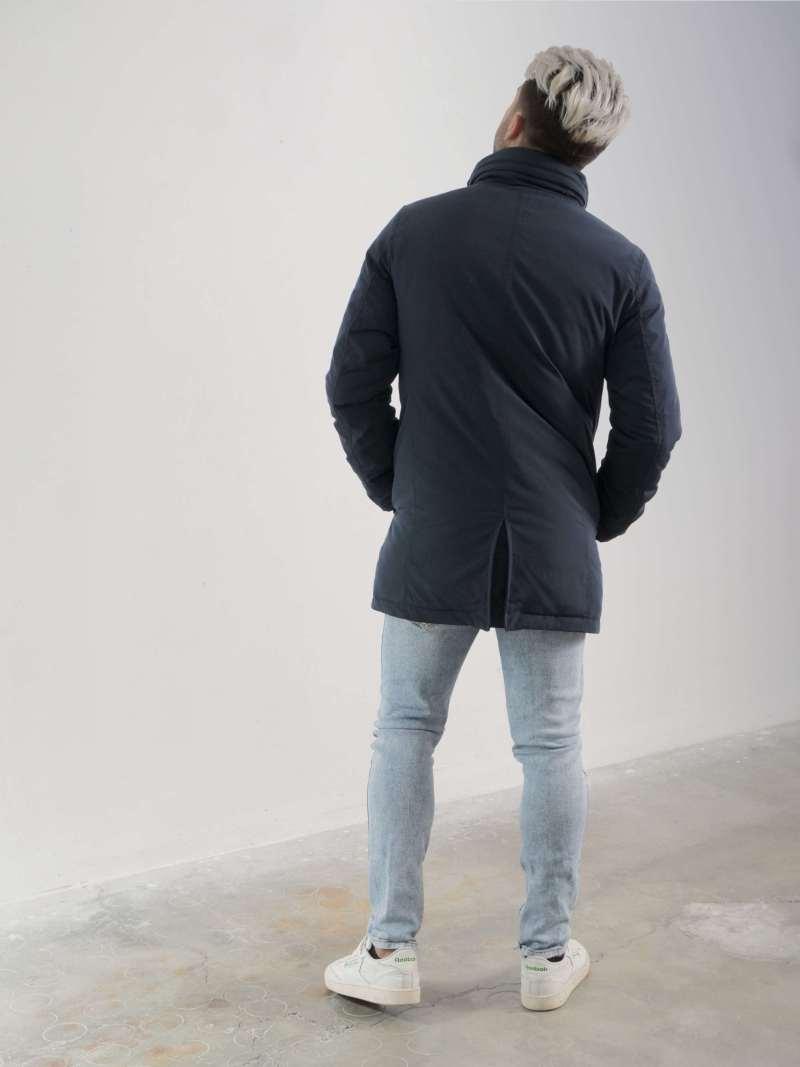 Giaccone blu in tessuto
