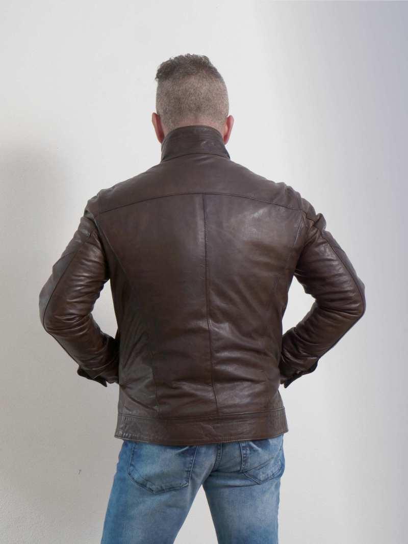 Giubbino biker marrone