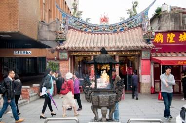 Temple au milieu de Dihua street