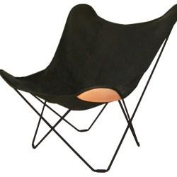 Flagermusstol i kanvas , sort - Cuero
