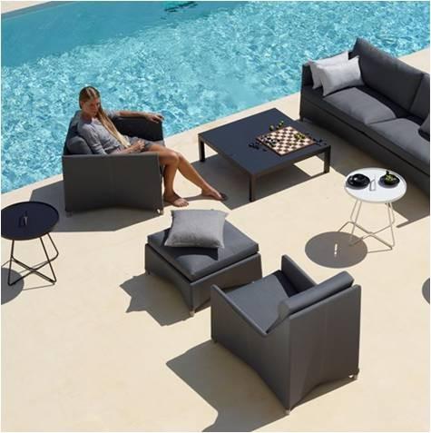 Diamond sunbrella lounge highbackstol grå inkl. hynde - Cane-Line