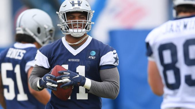 OXNARD, CA - JULY 24: Linebacker Micah Parsons #11 of the Dallas Cowboys participates in drills during training camp at River Ridge Complex on July 24, 2021 in Oxnard, California. (Photo by Jayne Kamin-Oncea/Getty Images)