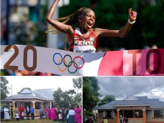 Kenyan Olympic champion gifts uncle who raised her since she was two a house