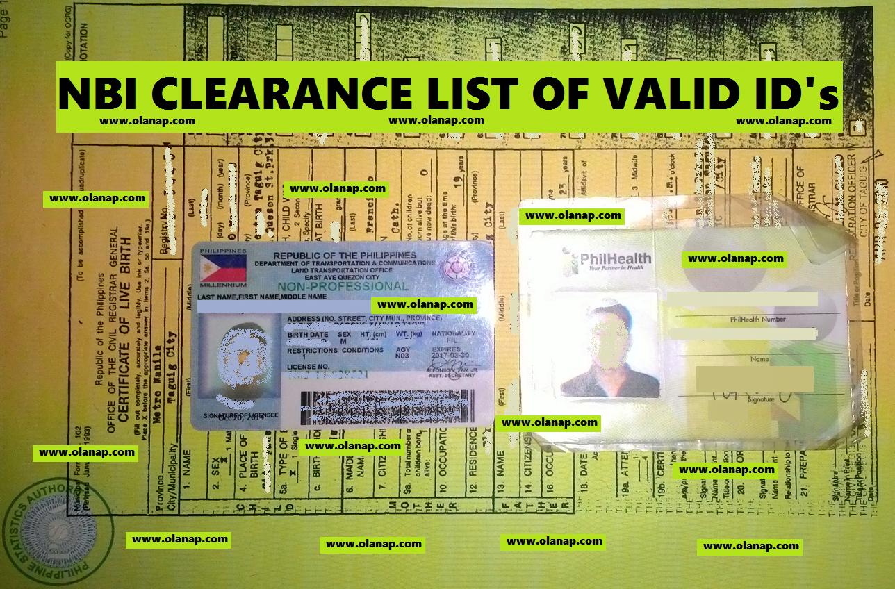 NBI CLEARANCE VALID ID 2019 UPDATED LIST   Olanap Media