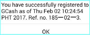 GCash Registration Confirmation Message
