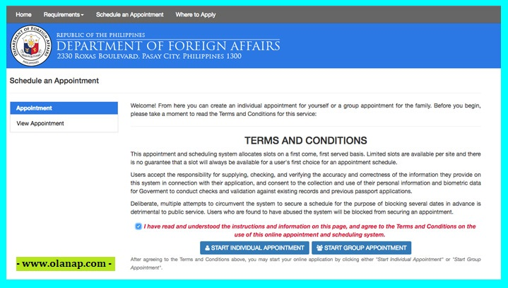 dfa online appointment for your passport