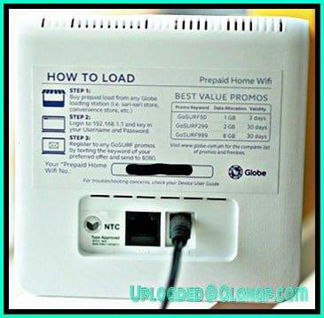 Back of Globe AT HOME Prepaid WIFI modem