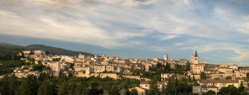 Clouds swirl above the ancient Italian city of Spello in Umbria. (c) 2011 Tom Kelly