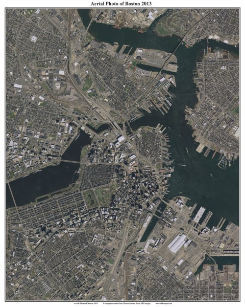 2013 Aerial Maps of Boston  Massachusetts Downtown Boston orig  24 x 30 16 x20   20 24 x30   30 36 x45   50