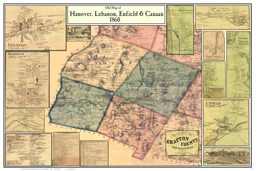 Graton and Hanover  NH Poster Map 1860 Click here