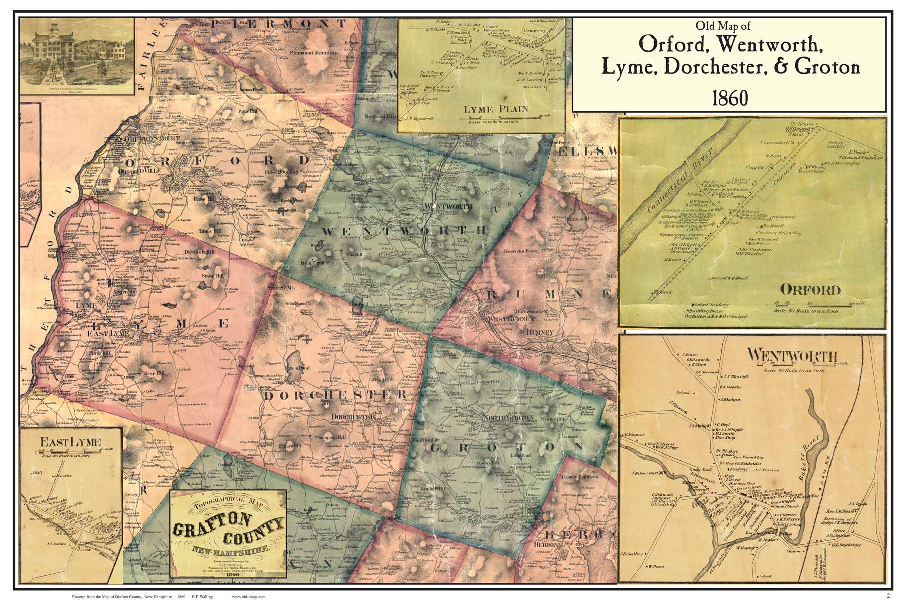 Orford area  NH Poster Map 1860 Click here