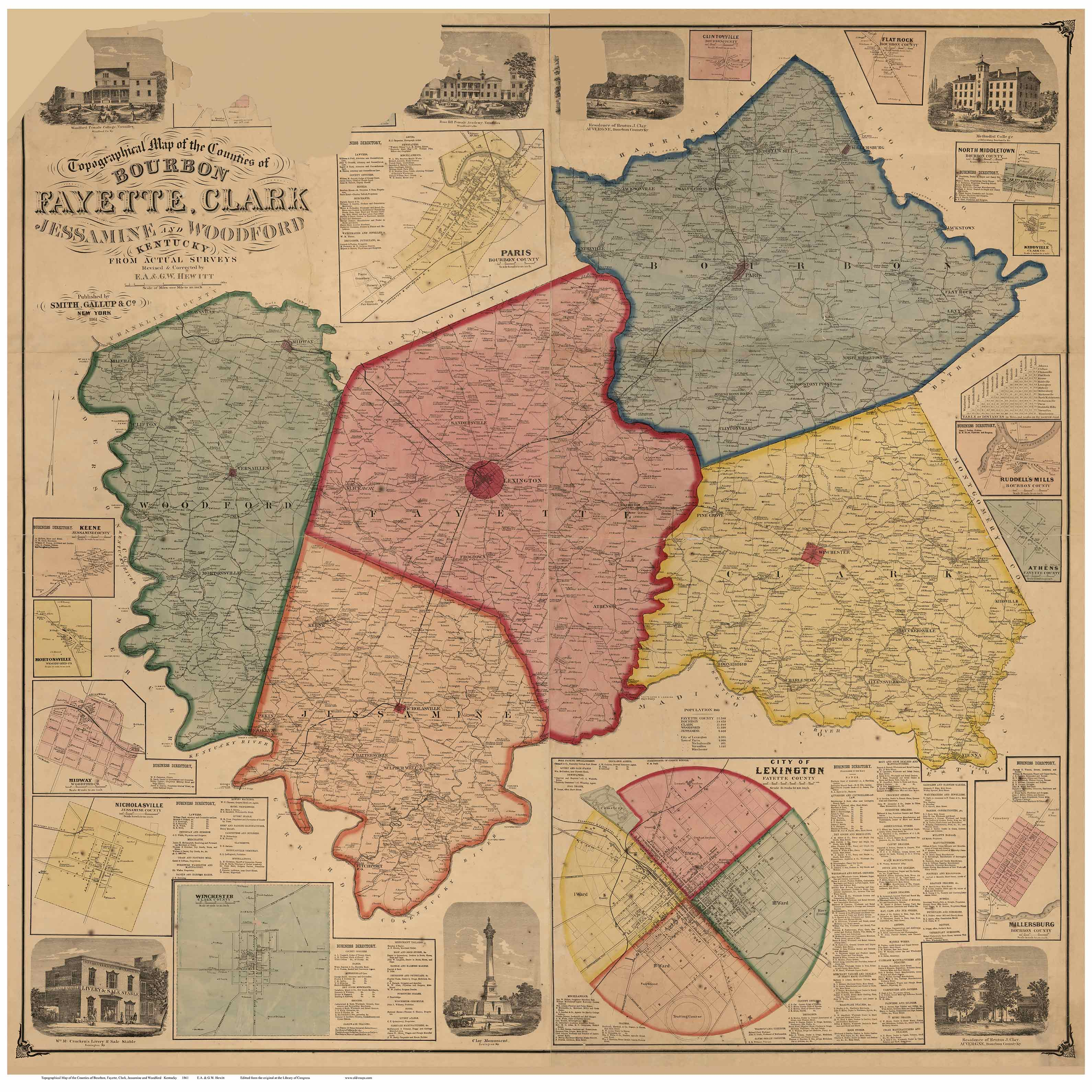 Large Map Kentucky Print