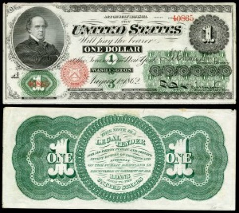 US $1 circa 1862 featuring Chase