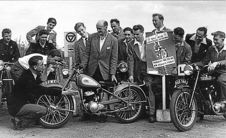 1965 and arigid-framed Bantam is at the forefront during a publicity session for the RAC/ACU training scheme.