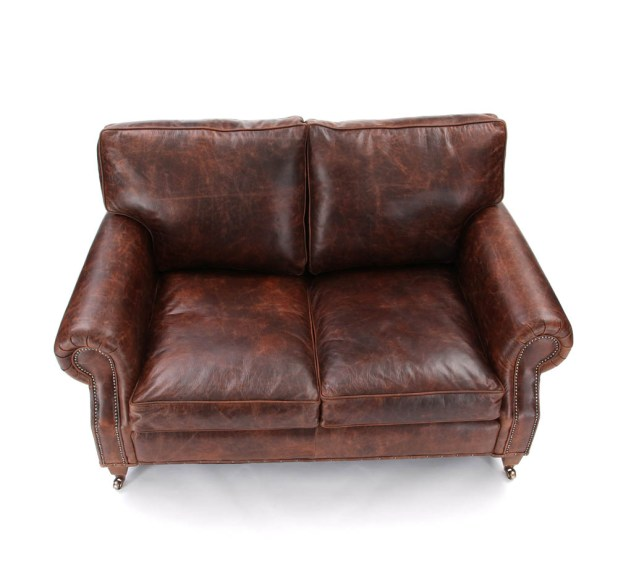 Small 2 Seater Brown Leather Sofa