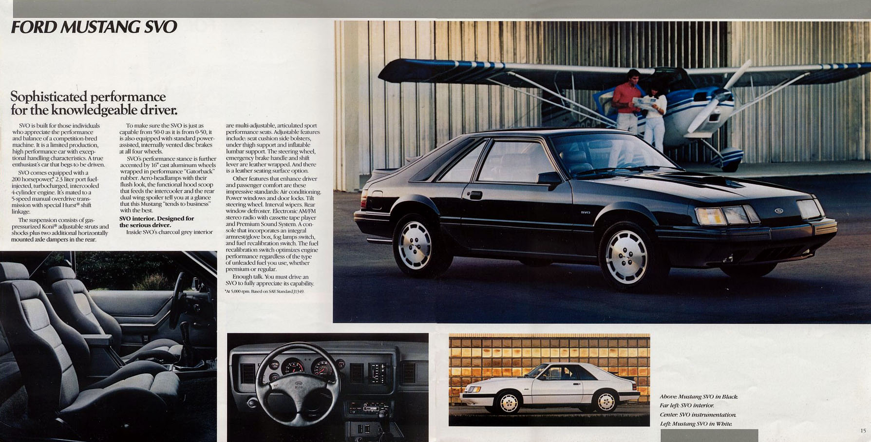 Mustang Eighties Cars 1983 Ford Gt Engine Svo Page From The 1984 Brochure Linked Old Car Manual Projects Amazing Brochures Section