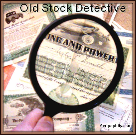 Old Company Stock Certificate Research Service - Old Stock Detective