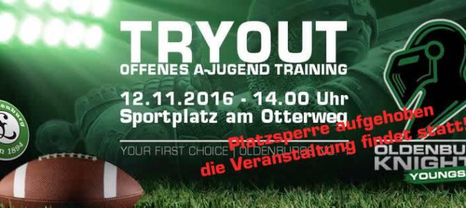 A-Jugend Tryout am Samstag findet statt!