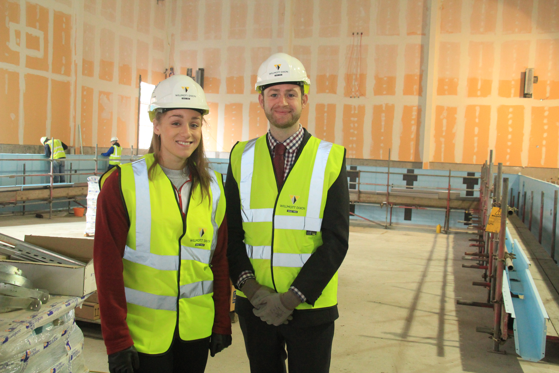 Jim McMahon, Oldham Council Leader and Jessica Fullalove, GB swimmer and Royton resident (pictured front), are pictured inside the new Royton Leisure Centre.