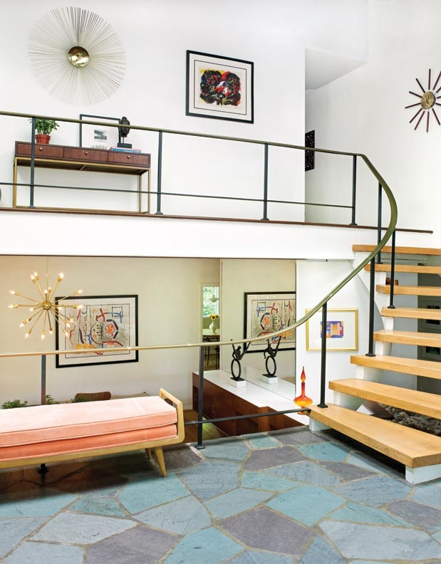 A Mid Century Modern Marvel In Delaware Old House Journal Magazine | Mid Century Modern Stair Handrail | Wrought Iron | Basement | Bannister | Modern Style | Contemporary Curved Staircase