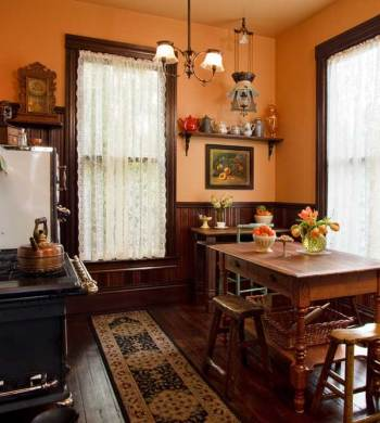 Selecting Curtains For Your Period Kitchen   Restoration   Design     Shirred lace panels suit big windows in a Victorian period kitchen  Photo   Blackstone