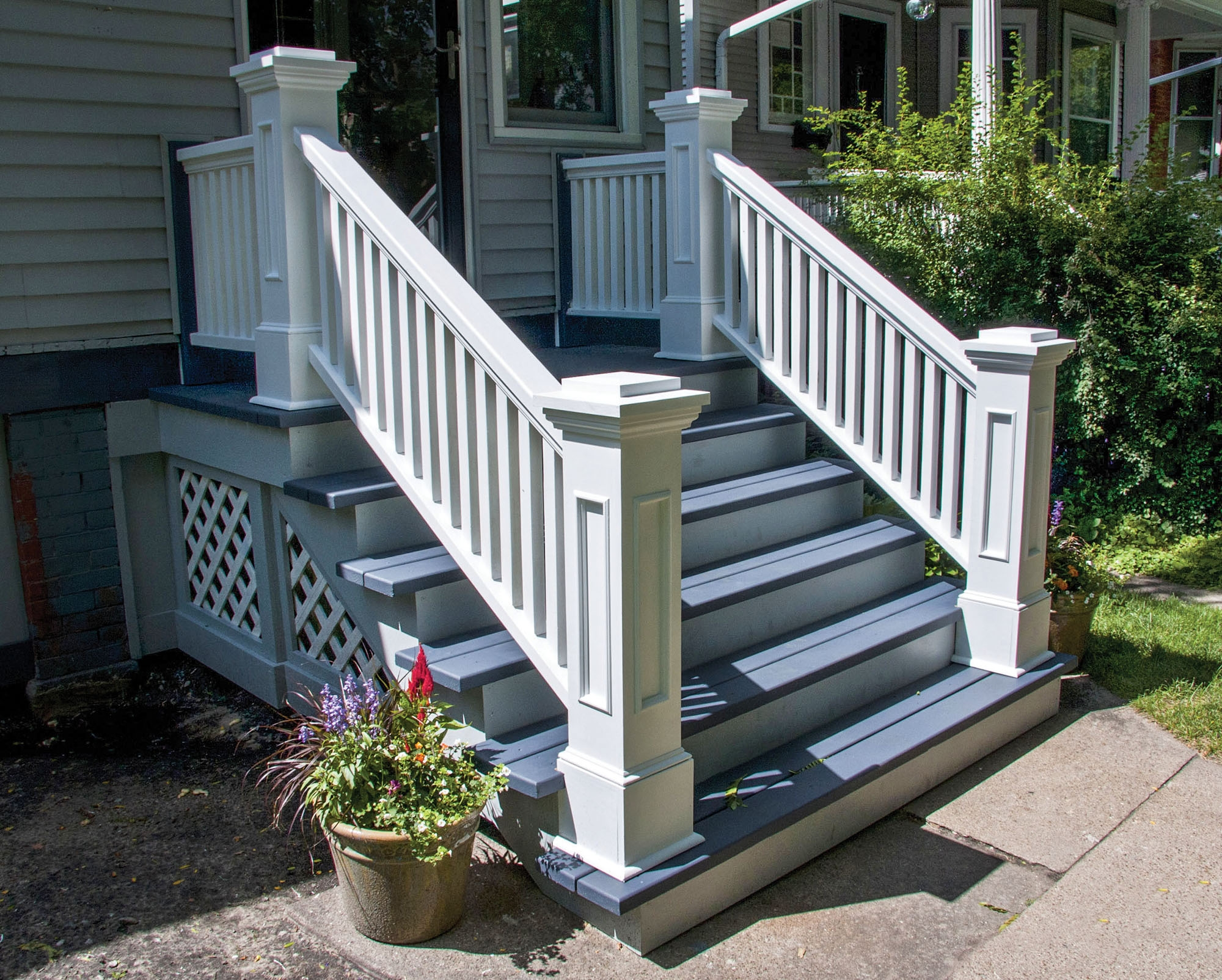 Graceful Stoops Entry Steps Old House Journal Magazine | Wooden Handrails For Outdoor Steps | Wall Mounted Wooden | Prefab | Lighting Outdoor | Deck | Outdoor Garden Path