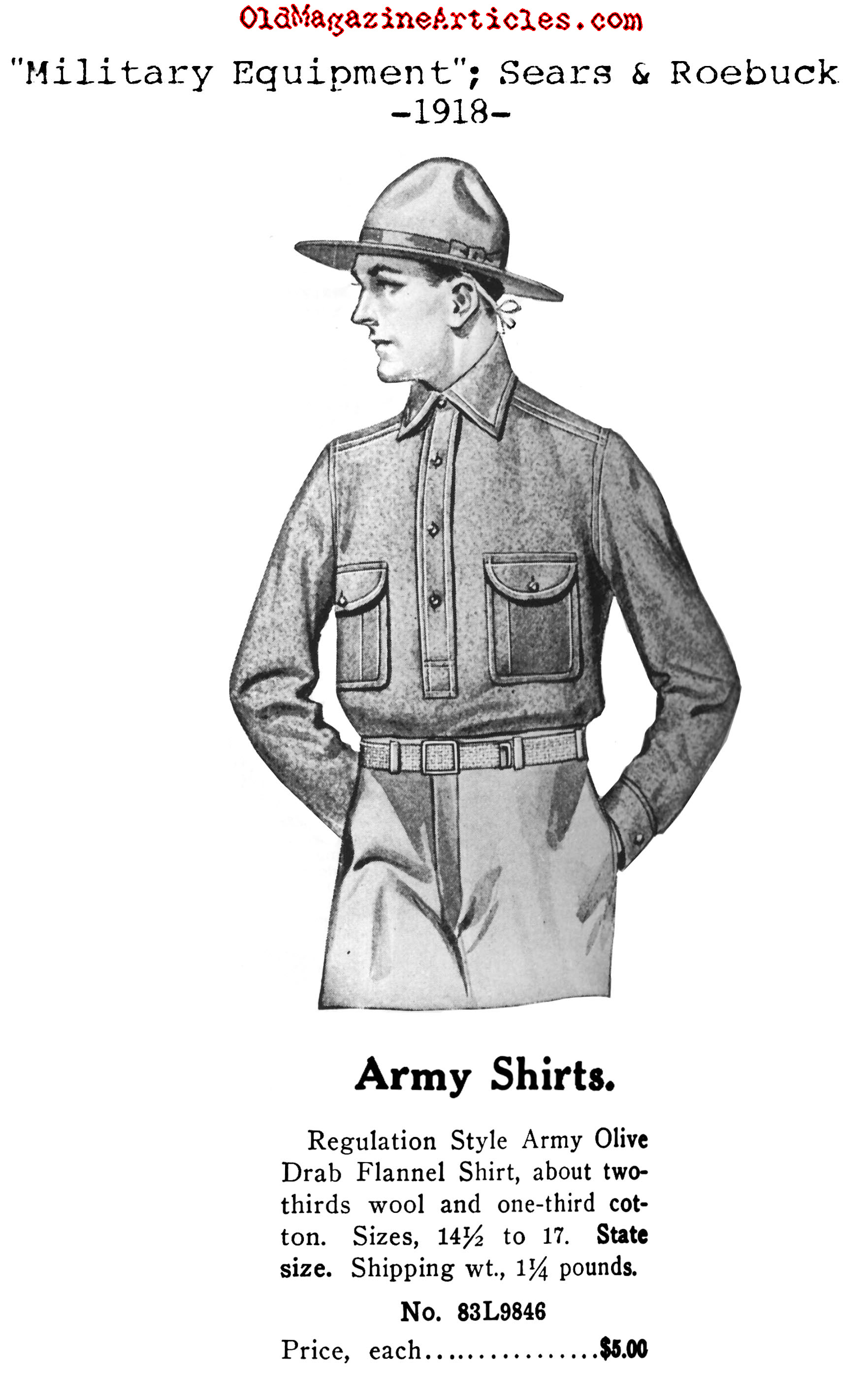 Illustration Of Us Army Uniform Shirt For The W W I