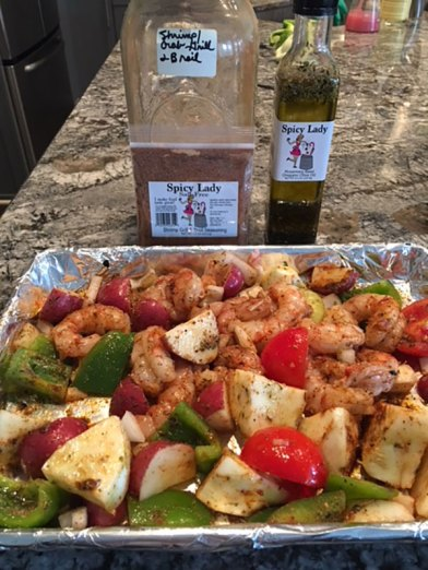 Spicy Lady Shrimp Grill & Broil Seasoning and Rosemary Basil Oregano Olive Oil | Old Metairie Garden Club